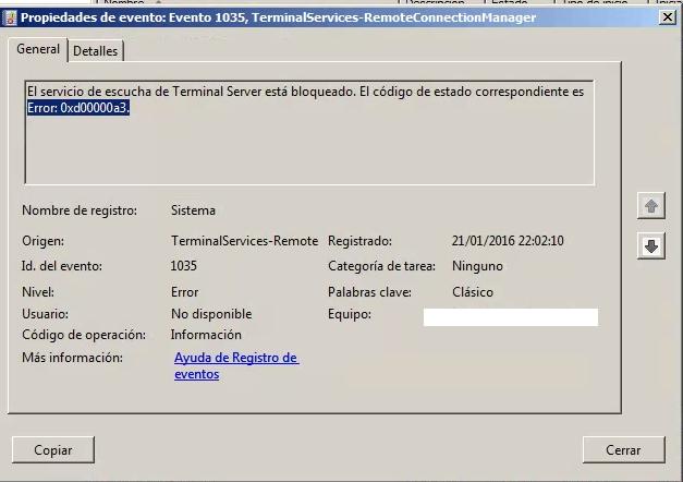 fallo terminal server 1035 0xd0000a3