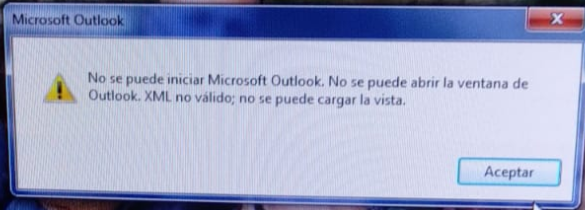 error outlook xml ventana